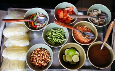 Ingredients for making a Thai som tum green papaya salad