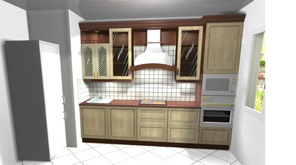 3D rendering interior design Kitchen in classic style
