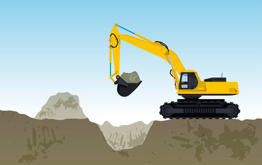 Yellow big digger builds roads gigging of hole ground works digging of sand coal waste rock and gravel illustration for internet banner poster or icon flatten isolated illustration vector