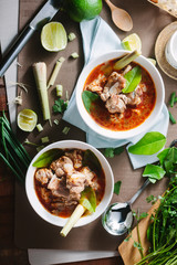 Hot and spicy soup with pork ribs,shallow Depth of Field,Focus on  pork ribs.