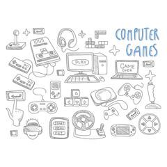 Computer games doodles icon set vector