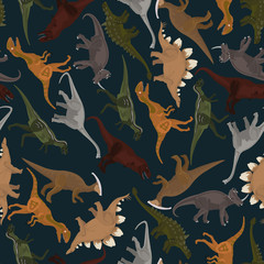 dark seamless pattern with dinosaurs