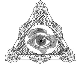 All seeing eye, engraving tattoo style.