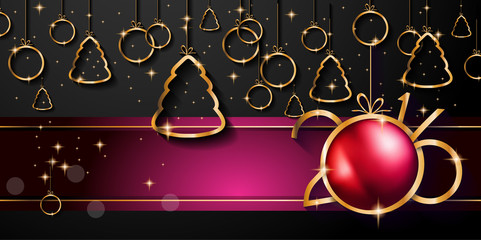 2016 Happy New Year and Merry Christmas Background