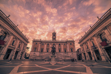 Fototapete - Rome, Italy: The Capitolium square in the sunrise