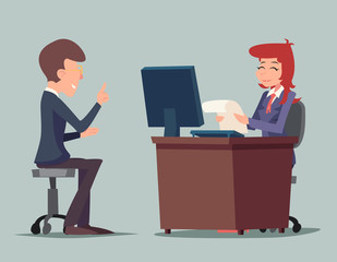 Task Conversation Job Interview Businessman at Desk Working on Computer Cartoon Characters Icon Stylish Background Retro Design Vector Illustration