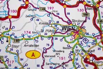 Map view of Vienna, Austria on a geographical map.