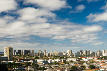 White Clouds Blue Skies Residential Homes Downtown Honolulu City Skyline