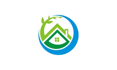 house ecology tree vector logo