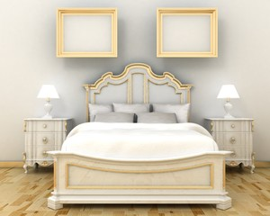 Interior decoration of luxury bedroom bed, night stand and picture frames on the decoration painted wall with wooden floor. Copy space image. 3d render