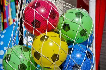 Plastic football game balls for children in  net bag