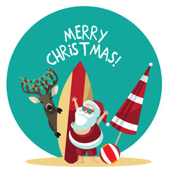 Cartoon Santa Claus waves hello from the beach. EPS 10 vector illustration.