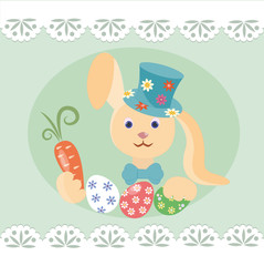 Mr.Bunny, Easter eggs in basket and  willow on the lace background
