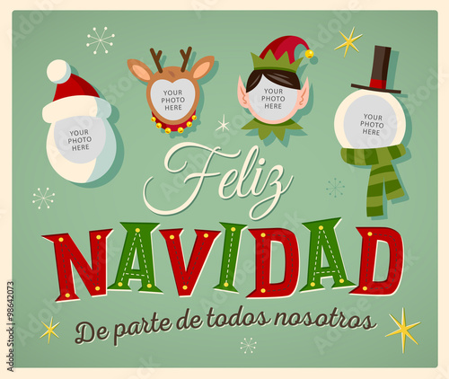 95e008d43de08 Vintage Style Family Spirit Christmas card in Spanish.