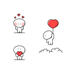 Cute man in love with hearts - Valentine's day cartoon vector illustration