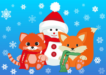 Snowman, kitten and fox wearing scarfs greet new year holding together. Design concept of friendship, new year and joy of seeing each other . Vector isolated on gradient blue background.
