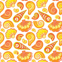 Seamless pattern of hand drawn seashells. Vector summer's children's doodle background