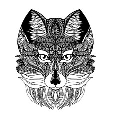 Wolf images using a combination of different ornaments and zentangl
