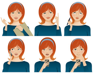 Young business woman with various facial expressions, gesturing and using smartphone.
