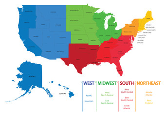 Map of US regions. Maps USA
