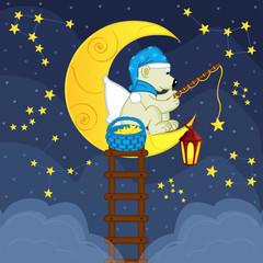 Polar bear on the moon catches the bait stars - vector illustration, eps