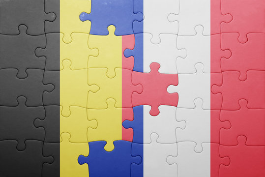 puzzle with the national flag of belgium and france