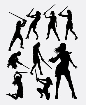Warrior girl with sword weapon silhouette. Good use for symbol, logo, web icon, game element, mascot, character, sign, or any design you want. Easy to use.