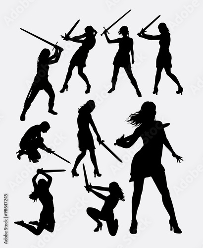 Quot Warrior Girl With Sword Weapon Silhouette Good Use For
