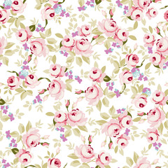 Floral pattern with little pink roses