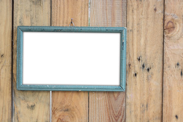 old vintage wooden photo frame on old wooden wall