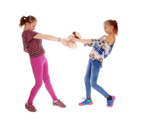 Two girls fighting for dolly.