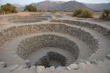 Ancient wells near town Nazca. Peru.