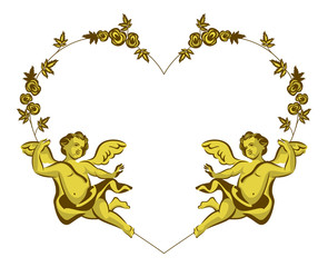 Heart shaped Valentine frame with Cupids