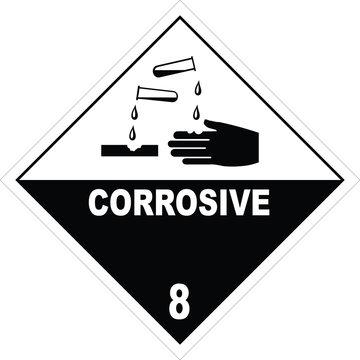 Corrosive warning sign, warning symbol, stock photo
