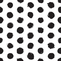 Seamless dot pattern. Hand painted circles. Ink illustration. Polka dot.