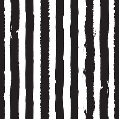 Seamless vertical stripes pattern with hand drawn lines. Ink illustration. Striped background. Dry brush.