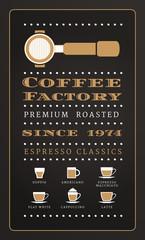 Vintage poster menu coffee factory in retro style