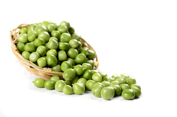 Fresh Green Peas in basket on white background
