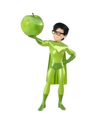 Little superhero and fruits