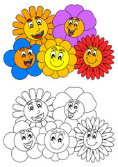 Smiling colorful flowers such as coloring books for children - vector svg