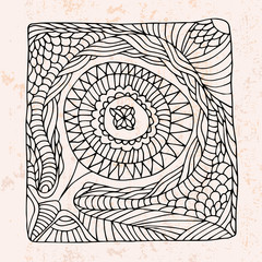 Zentangle with circle shape abstract flower