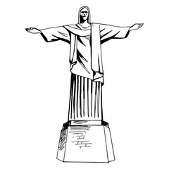 Christ the Redeemer hand drawn statue