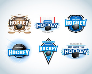 Hockey sport team logotype templates set. Hockey team logo template. Hockey emblem, logotype template, t-shirt apparel design. Sport badge for tournament or championship.