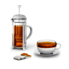 Black tea bags with cup and french press