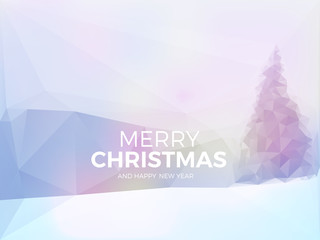 Christmas card with blurred winter landscape with snow covered trees