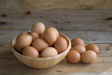 eggs in wooden bowls