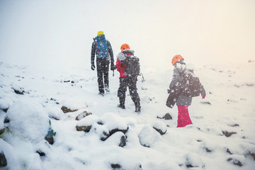 group of climbers in snow mountains