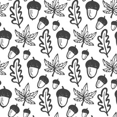 Seamless pattern with acorns and maple, oak leaves. Hand drawn vector background for fabric, textile, wrapping