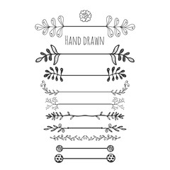 Hand drawn floral elements. Collection hand drawn border with ink doodle decoration. Retro style. Laurels, leaves, arrows, branches