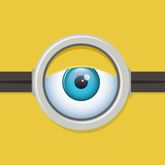 Cartoon one eye glasses or goggles eye. Vector character